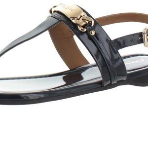 COACH CATERINE BLACK LEATHER SANDALS GOLD HARDWARE